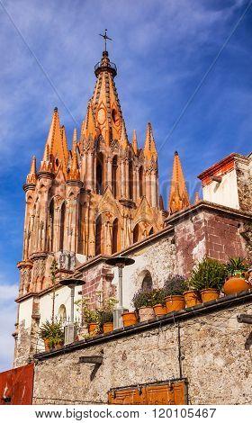 Parroquia Archangel church Wall San Miguel de Allende Mexico. Parroaguia created in 1600s.