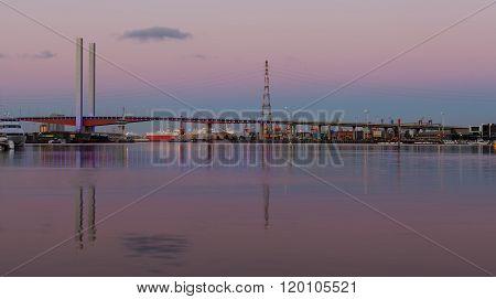 Bolte Bridge Melbourne And Cargo Ship