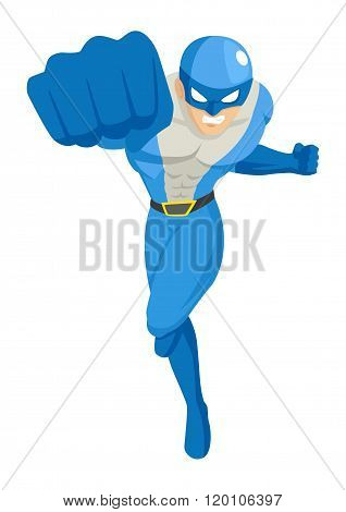Cartoon illustration of a superhero punching through