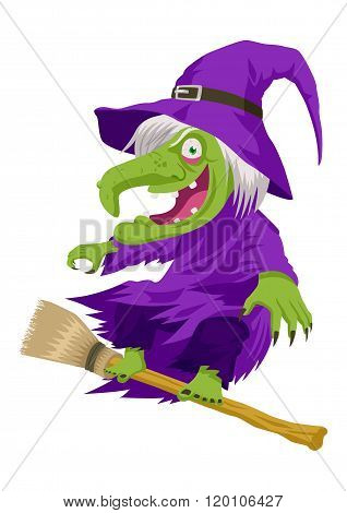Cartoon illustration of a witch flying with her broom