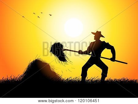 Silhouette illustration of a farmer with a pitchfork collecting hay