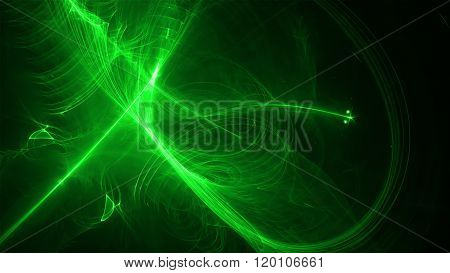 Green Glow Energy Wave. Lighting Effect Abstract Background.