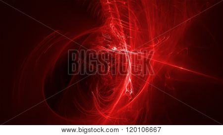 Red Glow Energy Wave. Lighting Effect Abstract Background.