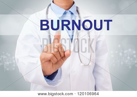 Doctor hand touching BURNOUT sign on virtual screen.