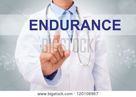 Doctor hand touching ENDURANCE sign on virtual screen.