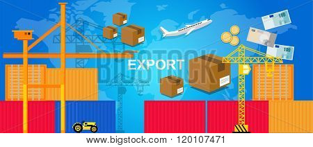 exports trading transportation logistic harbor containers plane and crane money package box world tr