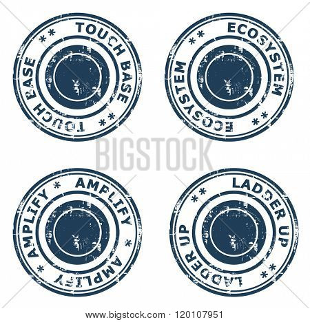 Set business concept rubber stamps isolated on a white background.