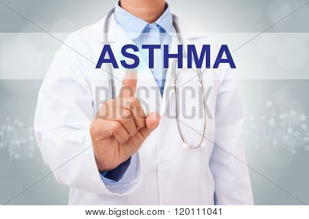 Doctor hand touching asthma sign on virtual screen.