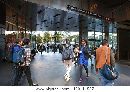 New York, U.S.A. - October 7, 2010: Manhattan,people walking in Columbus Circle subway entrance.