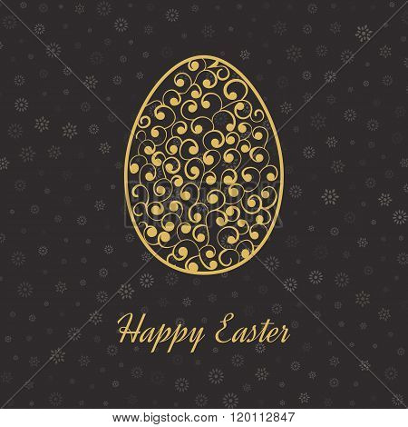 Happy Easter Card with Eggs. Poster, greeting card.