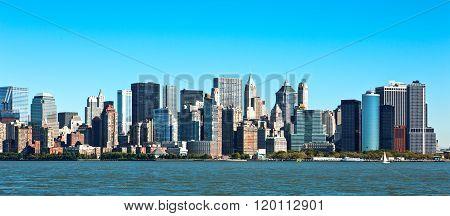 U.S.A., New York, panorama of Manhattan seen from Ellis Island