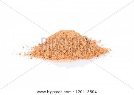 Nutmeg powder. Isolated on white background