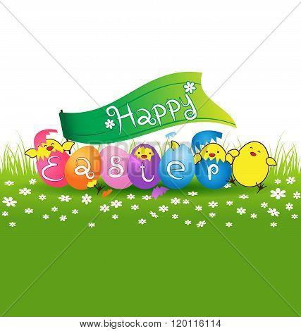 Cute Baby Chicken And Colorful Eggs For Easter Day Card