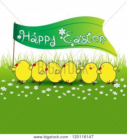 Cute Baby Chicken With Happy Easter Flag On Green Grass