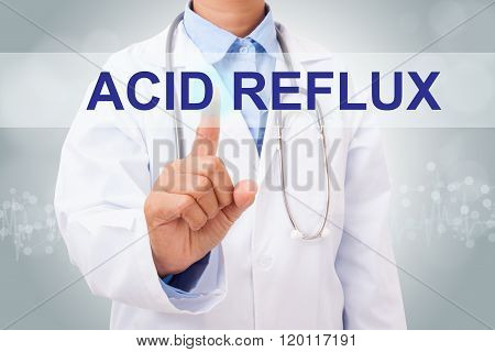 Doctor hand touching acid reflux sign on virtual screen.