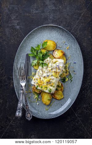 Coalfish with Fried Potatoes