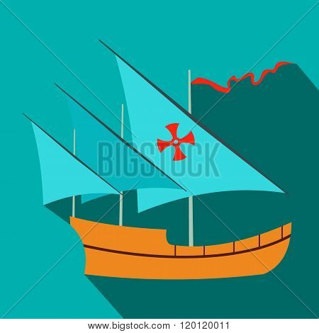 Santa Maria sailing ship icon, flat style