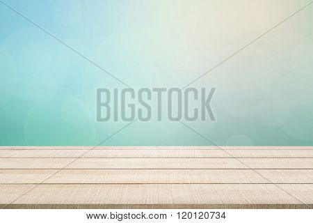 Wood Table Top Panel On Turquoise Background