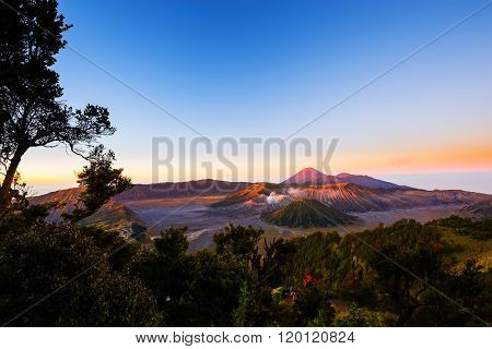 Sunrise At Mount Bromo Volcano, The Magnificent View Of Mt. Bromo Located In Bromo Tengger Semeru Na