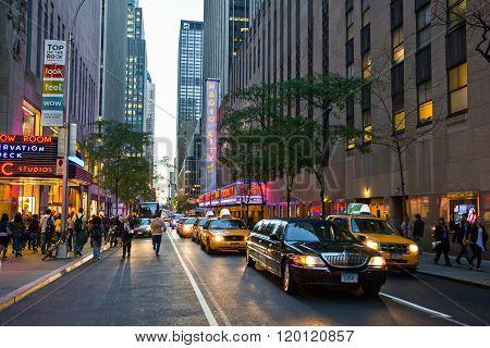 New York U.S.A. - October 9, 2010: Manhattan, people and  traffic near Radio City Hall.