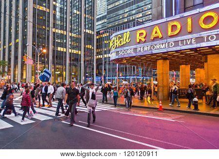 New York, U.S.A. - October 9, 2010: Manhattan, people walking near Radio City Hall.