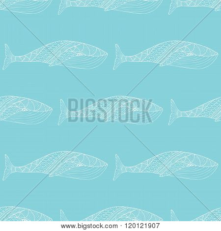 Tribal Whale Seamless Pattern.