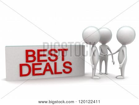 3D Men Aranging Best Deal Concept