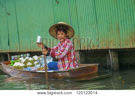 Floating Market  In Thailand.