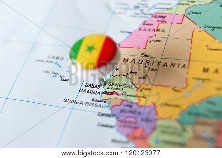 Senegalese Flag Pin Pointing Dakar