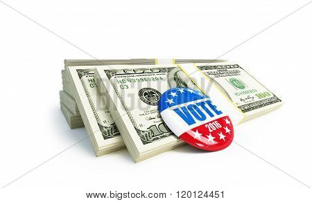 Dollar Sign Vote Usa 2016 Badge