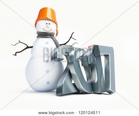 Snowmen Happy New Year 2017. 3D Illustration On A White Background