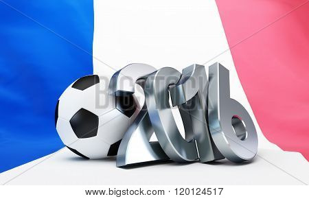 France Football 2016, Flag Of France. 3D Illustrations On A White Background
