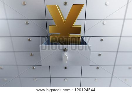 Yen Sign Opened Empty Bank Deposit Cell