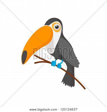 Toucan icon, cartoon style