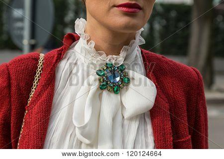 Detail Of A Fashionable Woman Outside Emporio Armani Fashion Show During Milan Fashion Week 2016