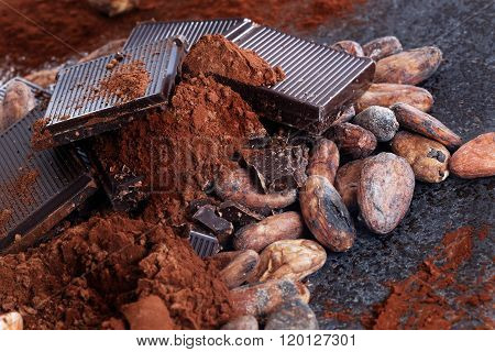 Chocolate pieces with cocoa beans and cocoa powder