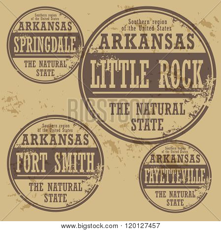 Grunge Rubber Stamp Set With Names Of Arkansas Cities