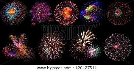 Beautiful Firework Set On Black Background