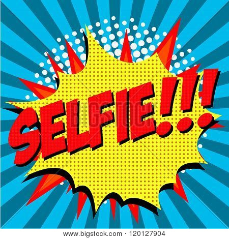 Selfie Pop Art Style Illustration.