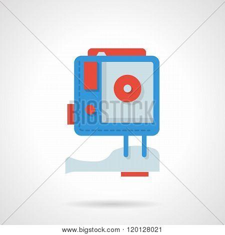 Action camera flat color design vector icon