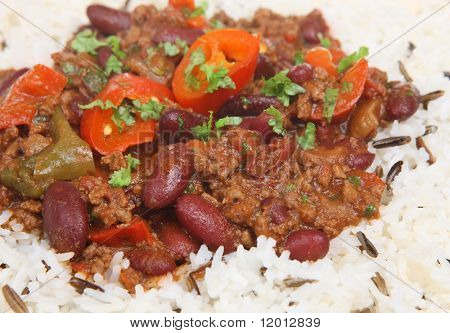 Chilli con carne with wild rice