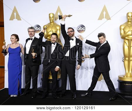 LOS ANGELES - FEB 28:  Mark Williams Ardington, Paul Norris, Sara Bennett, Andrew Whitehurst, Andy Serkis at the 88th Annual Academy Awards at the Dolby Theater on February 28, 2016 in Los Angeles, CA
