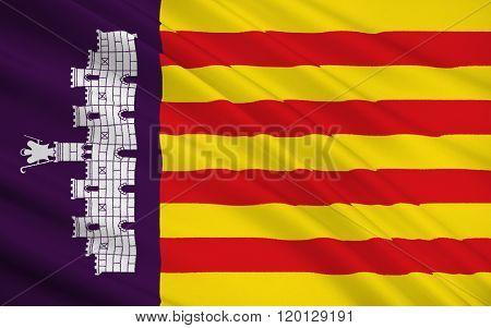 Flag Of Palma De Mallorca - Is The Capital City Of The Autonomous Community Balearic Islands, Spain