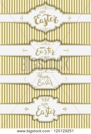 Set Of The Happy Easter  Labels Templates.