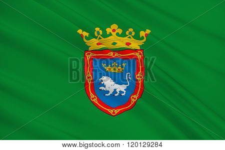 Flag Of Pamplona Is The Historical Capital City Of Navarre, In Spain