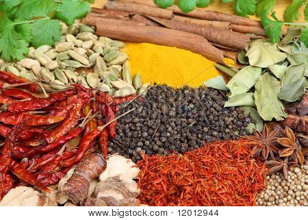 Indian spices, seeds and herbs