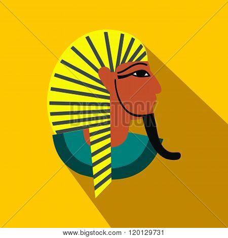 Egyptian pharaoh icon, flat style