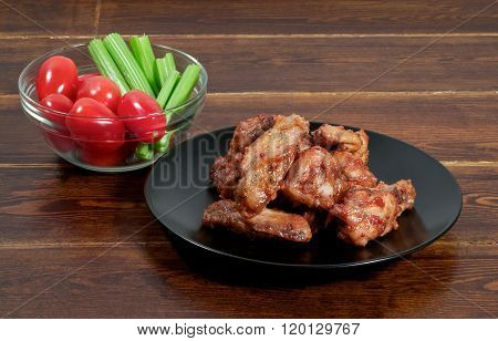 Chicken Barbecue Wings With Vegetables