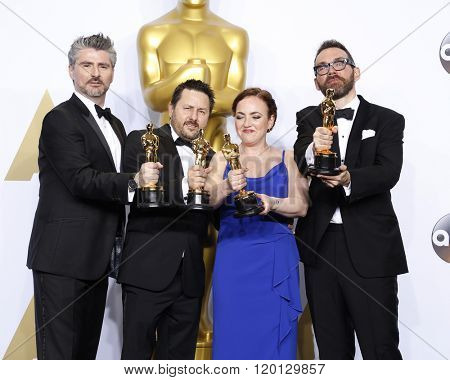 LOS ANGELES - FEB 28:  Mark Williams Ardington, Paul Norris, Sara Bennett, Andrew Whitehurst at the 88th Annual Academy Awards - Press Room at the Dolby Theater on February 28, 2016 in Los Angeles, CA