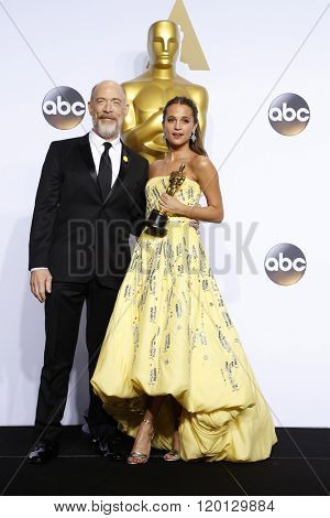 LOS ANGELES - FEB 28:  J.K. Simmons, Alicia Vikander at the 88th Annual Academy Awards - Press Room at the Dolby Theater on February 28, 2016 in Los Angeles, CA